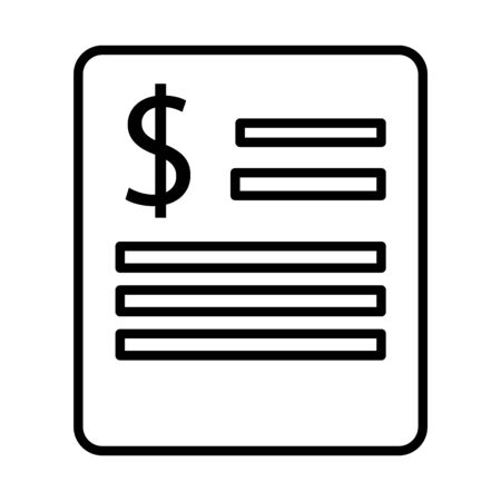 paper document with dollar symbol line style icon vector illustration design