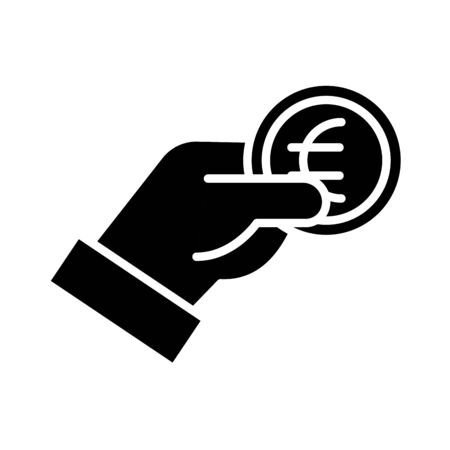 hand with coin money euro silhouette style vector illustration design