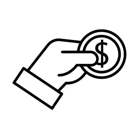 hand with coin money dollar line style vector illustration design Çizim