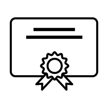 graduation certificate diploma line style vector illustration design