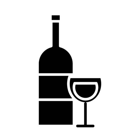 wine cup and bottle drink silhouette style icon vector illustration design