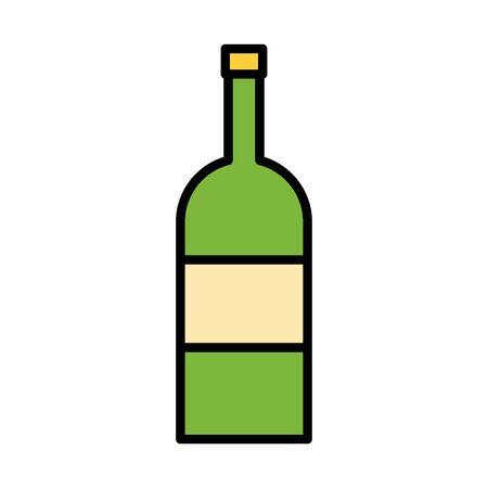 wine bottle drink fill style icon vector illustration design Illustration
