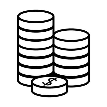 pile coins money dollars line style vector illustration design