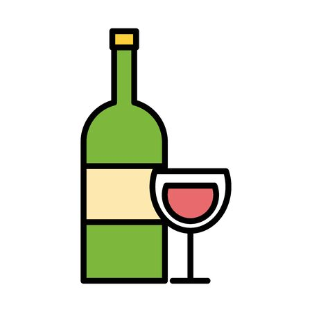 wine cup and bottle drink fill style icon vector illustration design