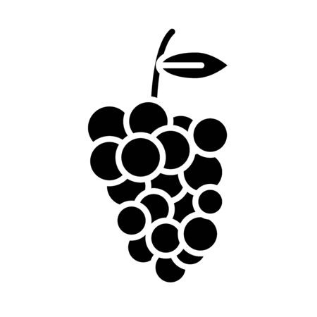 grapes fresh fruit healthy food silhouette style vector illustration design