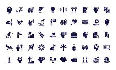 bundle of anger set icons vector illustration design Vector Illustration