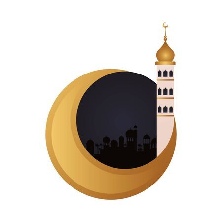 ramadan kareen golden moon decoration with mosque tower vector illustration design