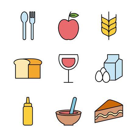 bundle of food and drinks icons vector illustration design Vektorové ilustrace
