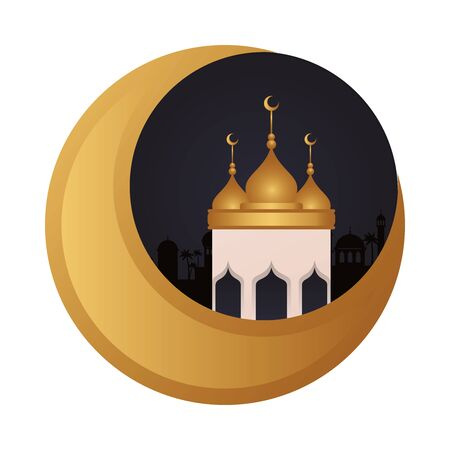 ramadan kareen golden moon decoration with mosque cupule vector illustration design Illustration
