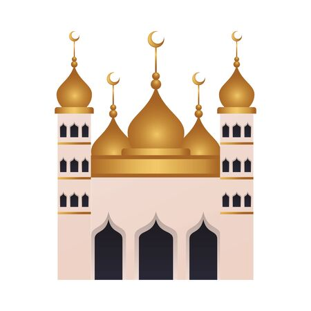 ramadan kareen golden mosque temple vector illustration design