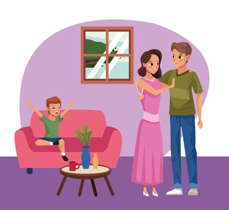 parents couple with son stay at home campaign vector illustration design