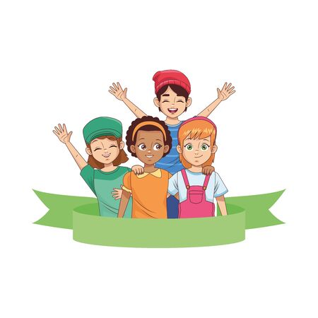 happy young diversity kids avatars characters vector illustration design