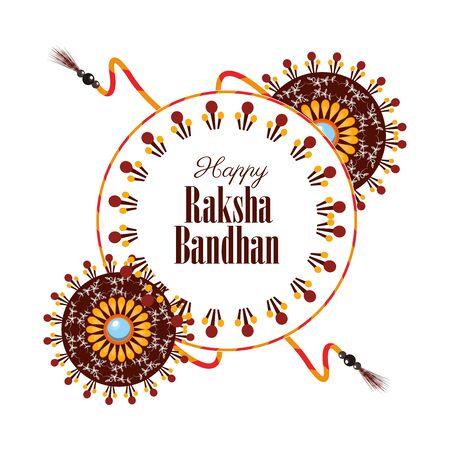 happy raksha bandhan celebration with colors powders vector illustration design
