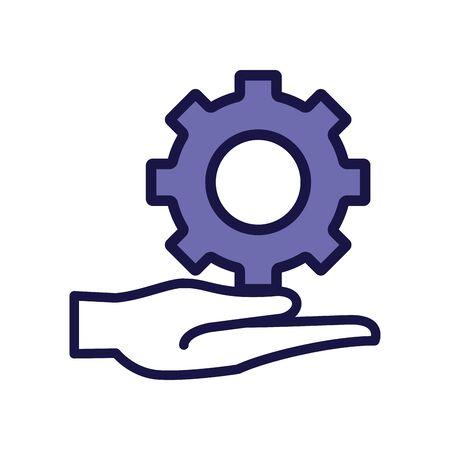 gear setting machine line style icon vector illustration design Vettoriali