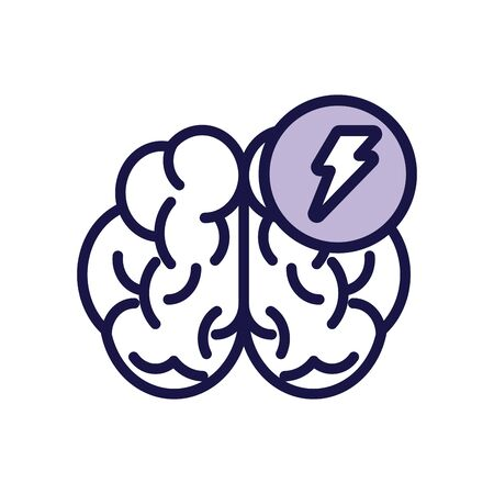 brain human with power ray line style icon vector illustration design