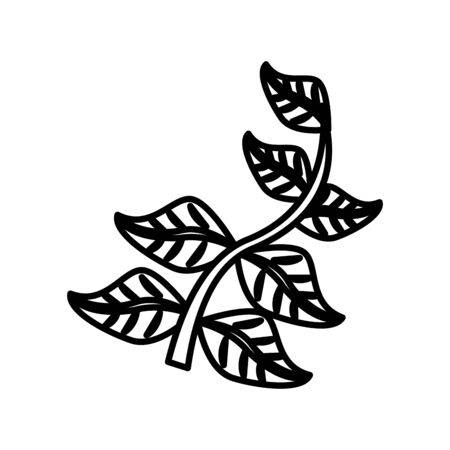 branch with leafs line style icon vector illustration design
