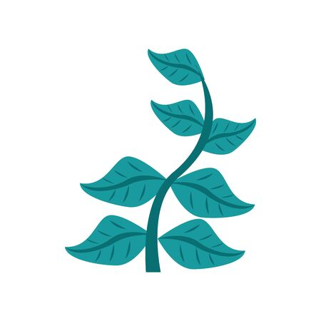 branch with leafs flat style icon vector illustration design