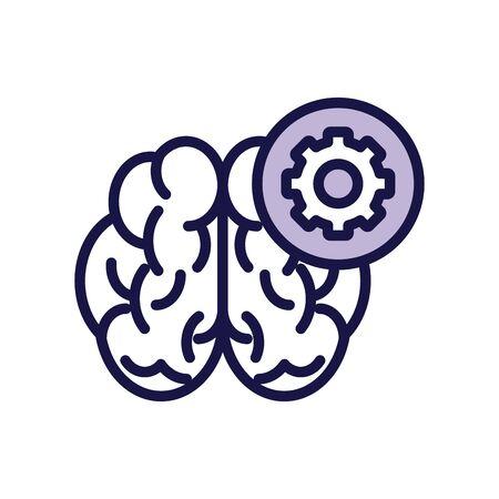 brain human with gear line style icon vector illustration design Vettoriali