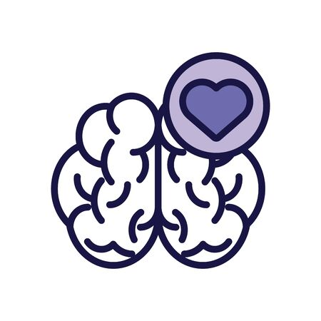 brain human with heart line style icon vector illustration design