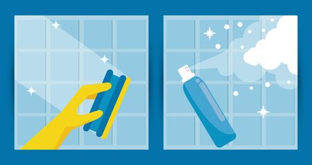 disinfect and clean activity with splash bottle and sponge vector illustration design