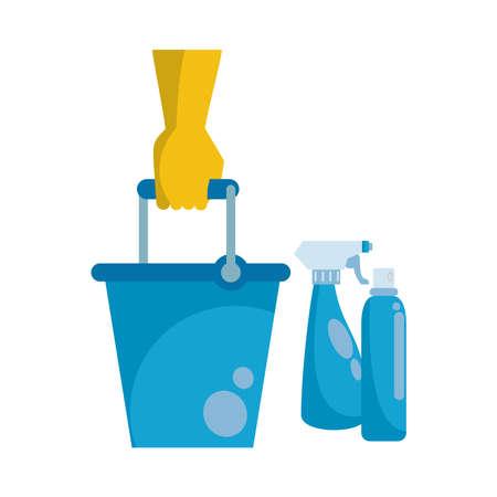 splash spray bottles disinfectants with glove and bucket vector illustration design