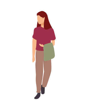 young woman casual avatar character vector illustration design