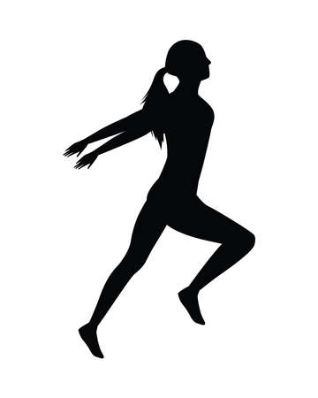 silhouette of athletic woman running vector illustration design