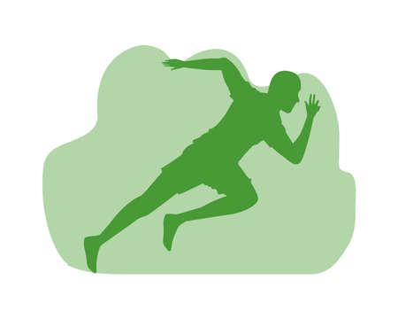 silhouette of athletic man running vector illustration design