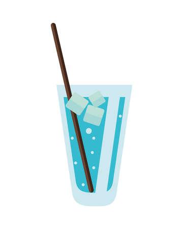 water glass with ice cubes icon vector illustration design Ilustração