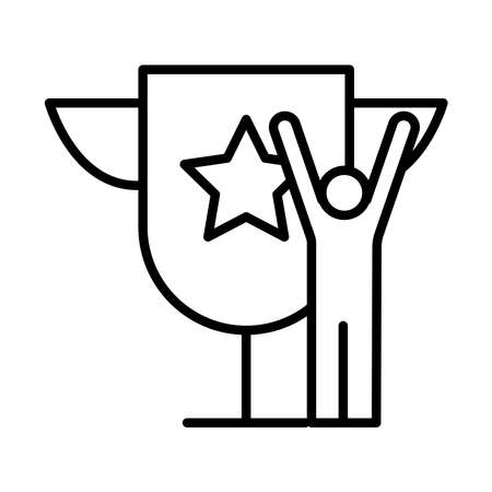 winner champion avatar figure with trophy cup line style vector illustration design