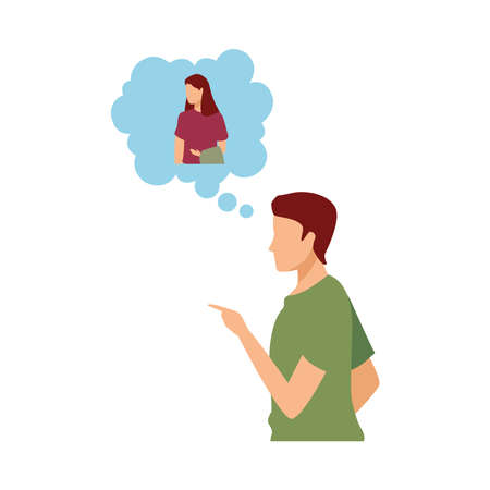 young man casual thinking in woman avatar character vector illustration design