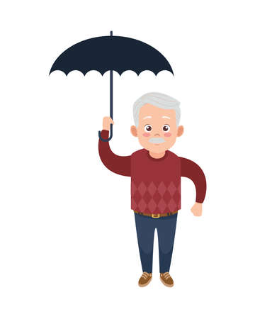 happy old grandfather with umbrella avatar character vector illustration design