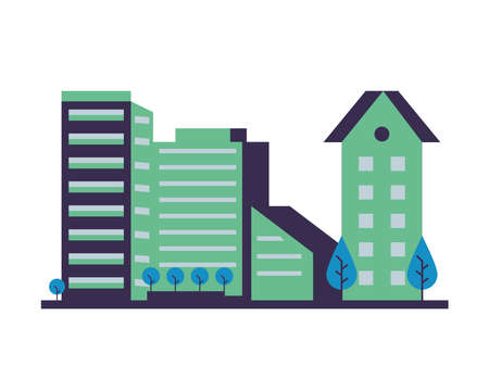 buildings constructions with trees city scene vector illustration design