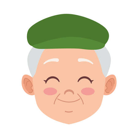 happy old grandfather with beret avatar character vector illustration design