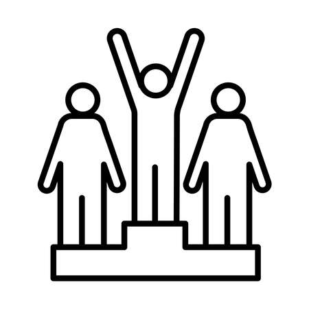 winners champion in podium avatars figures line style vector illustration design