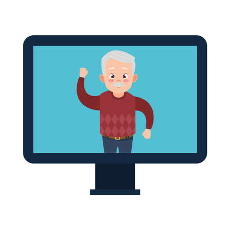happy old grandfather in desktop avatar character vector illustration design