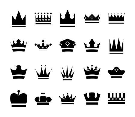 bundle of crowns royal set icons vector illustration design