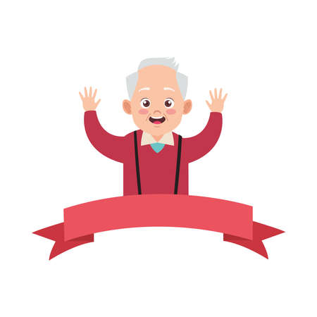 happy old grandfather avatar character vector illustration design Illustration