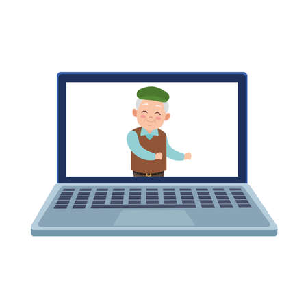 happy old grandfather in laptop avatar character vector illustration design