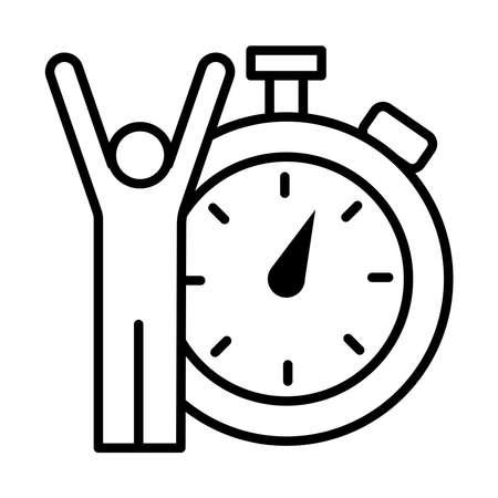 winner champion avatar figure with chronometer line style vector illustration design  イラスト・ベクター素材