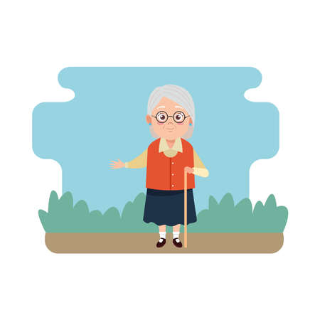 cute happy grandmother with cane avatar character vector illustration design