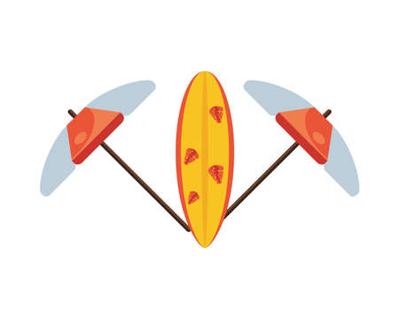 umbrellas beach accessory and surfboard isolated icon vector illustration design