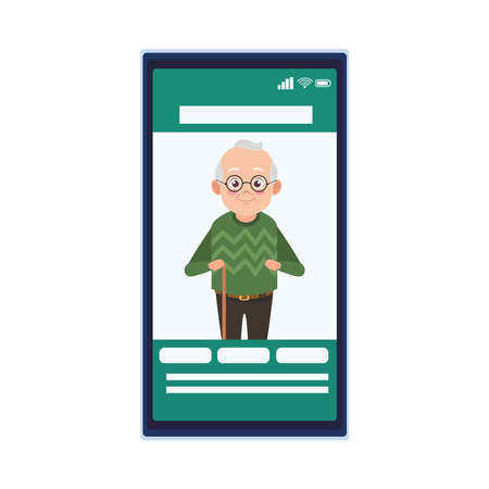 happy old grandfather in smartphone avatar character vector illustration design