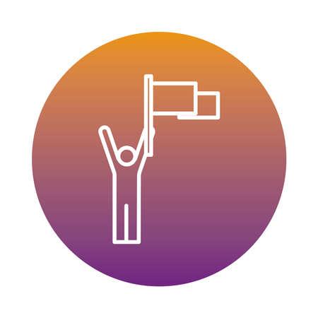 winner champion with flag success avatar figure block style vector illustration design