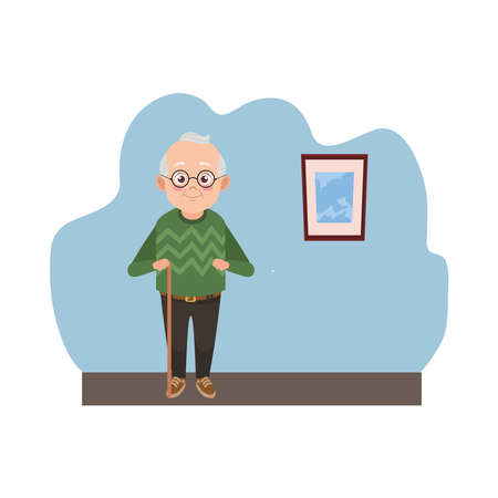 happy old grandfather with glasses avatar character vector illustration design