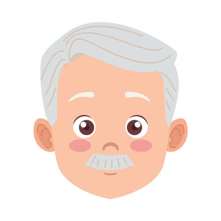 happy old grandfather with mustache avatar character vector illustration design Illustration
