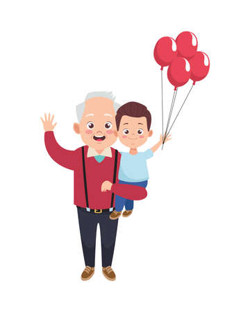 happy old grandfather with little grandson and balloons helium vector illustration design