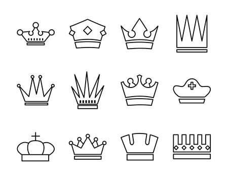 bundle of crowns royal set icons vector illustration design 일러스트