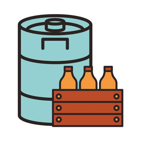 fresh beers bottles drinks in basket with barrel vector illustration design