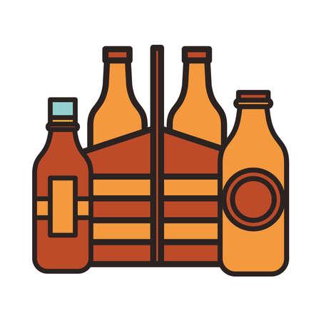 fresh beers bottles drinks in basket vector illustration design